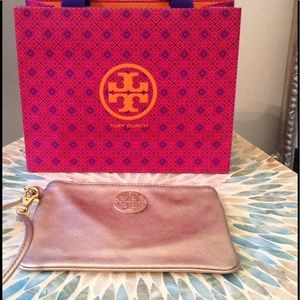 TORY BURCH - Rose Gold Saffiano Leather Wristlet